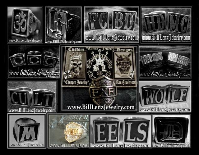 image With custom block letter biker rings