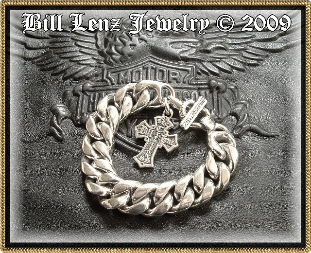 "Bill Lenz Curb Bracelet w/ Crested Cross ""HIT MAN"""