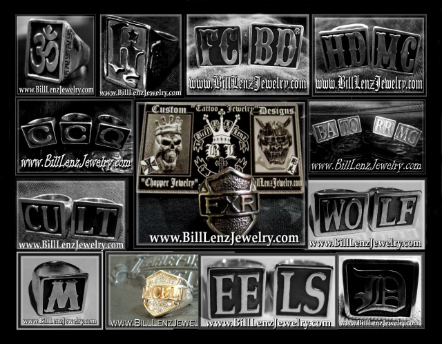 Bill Lenz Custom Block Letter Biker Rings SO NS  Style Rings Bill Lenz SONS Hand Anarchy Style Rings